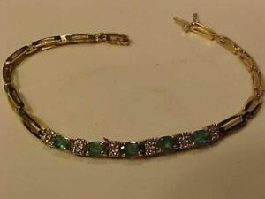 "#3262-CALLING EMERALD & DIAMOND LOVERS 14K Y/W/Gold-7 1/4"" LONG-APPRAISED $4,150.00 SELL $1,150.00 FREE S/H-APRAISAL IN"