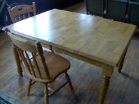 SOLID OAK TABLE PLUS CHAIRS