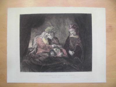JACOB BENISSANT LES ENFANTS DE JOSEPH:  iMP.:E. DELARUE, PARIS.Kolor. Radierung.