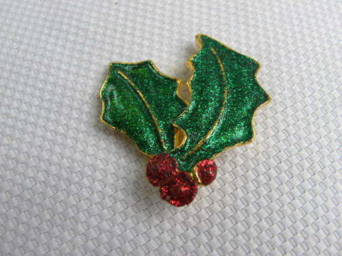 Christmas Holiday Pin Brooch Holly Berry Leaf Gold Tone Enamel Metal
