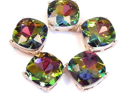 5 - 2 HOLE SLIDER BEADS FACETED VITRAIL GLASS CABOCHONS MATTE GOLD FINISH FRAME