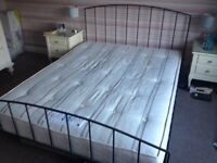 Habitat King Size Steel Grey Metal Frame Bed and Orthopaedic Mattress in very good condition