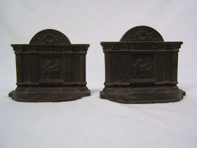 """Vintage Pair of Metal Fireplace Bookends 4"""" Height x 4 3/4"""" Width VGC"""