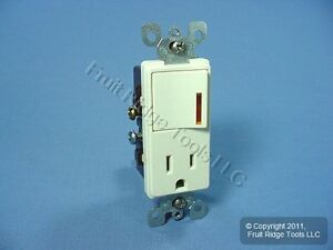 Leviton-Almond-Decora-LIGHTED-Rocker-Wall-Switch-amp-Receptacle-Outlet-15A-5647-A
