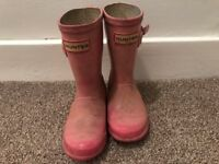 Pink Hunter wellies size 9 (For approx. age 3-4 year old)