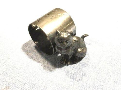 Victorian figural napkin ring. Sitting cat. Floral engr. Monogrammed M. A. B.