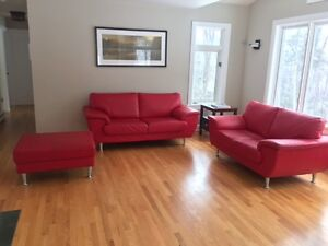 Faux Leather Couch & Ottoman