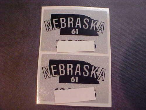 1961  Nebraska  license plate sticker pair