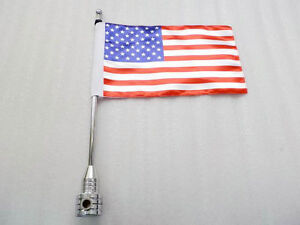 Motorcycle-Chrome-Rear-Side-Mount-Flag-Pole-with-USA-Flag-For-Harley-Davidson