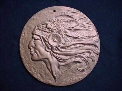 Iron Art, Cast Iron 8 3/4 Inch Indian Chief Plaque