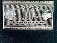 Unique Rare Sterling Silver Collectible Bank Note 10 Kroner