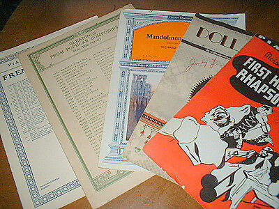 5  pieces  PIANO  SHEET  MUSIC  1st Hungarian Rhapsody  Mandolinen  Godard