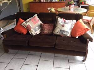 Brown corduroy velvet sofa Coolbellup Cockburn Area Preview