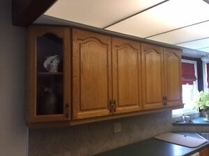 SOLID RED OAK KITCHEN CABINETS & MICROWAVE