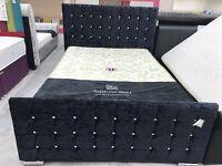 Crushed velvet balck king size bedframe - bargain only one left! £249!