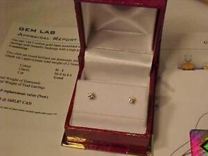 #3415-DIAMOND STUD EARRINGS-14K YELLOW GOLD-Just Apraised $950.00 yours for JUST $450.00 FREE S/H IN CANADA EXPRESS POST