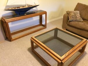 Oak & Glass Coffee Table, End Table & Sofa Table