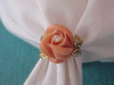 ART DECO 18K GOLD ANGEL SKIN CORAL ROSE FLOWER RING SZ 7