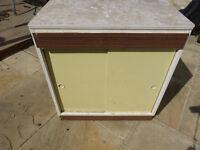 Vintage Retro Freestanding Kitchen Cupboard Unit 1950's 60's White/yellow