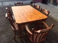 Pine kitchen table & 6 chairs