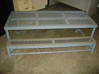 Industrial Grey Steel Rolling 2 Step Landing Portable Steps