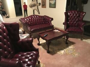 Leather tufted Wing Chairs and Love Seat