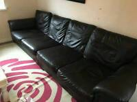 Brown leather 4 seater sofa