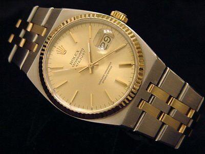Rolex Datejust Oysterquartz 17013 Stainless Steel 18K Gold Watch Champagne