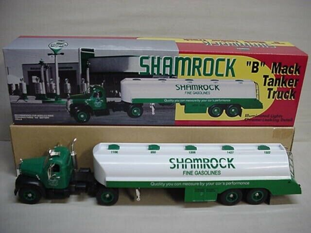 SHAMROCK GASOLINE + OIL B-MACK MACK TANKER TRAILER TRUCK  LIGHTS UP NICE TRUCK