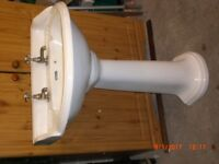 VICTORIAN STYLE PEDESTAL WASH BASIN with ANTIQUE STYLE TAPS