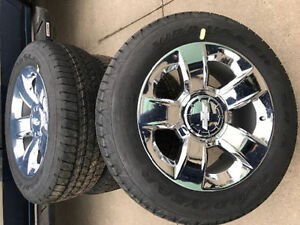 4 New 2017 Chevy Silverado 20in Rims C/W Goodyear Wrangler tires