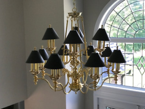 """Gold Plated Chandelier - 40"""" Diameter - Great Condition"""