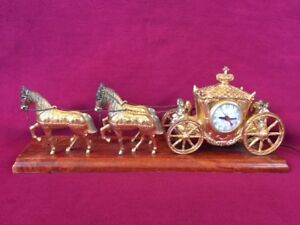 Horse Drawn Carriage Mantle Clock-Vintage