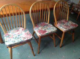 6 ladder back chairs complete with cushions covers