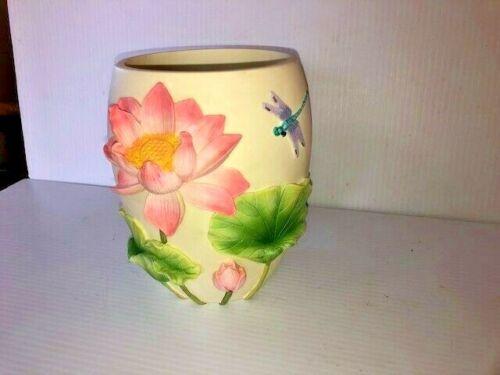"Vintage Lenox Vase Blushing Lotus Bright Colors Very Nice 7"" Tall"