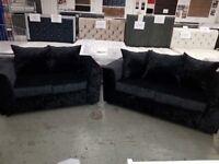 Crushed velvet 3&2 sofas - new