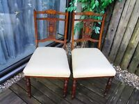 Antique*  2 chairs jacarander with marquetry english 1860's