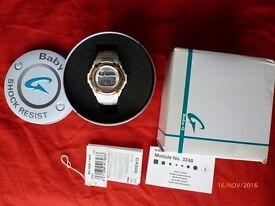 CASIO LADIES WHITE BABY-G DIGITAL ALARM WATCH BG-3000-7AER gift