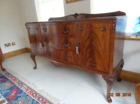 Dining Room Table, Sideboard and six chairs. Flame Mahogany in excellent condition