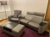 Stressless 3 seater home cinema style sofa and matching storage ottoman