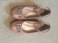 Monsoon Girls Party Shoes - Pink Lace Jewels - Junior Size 12
