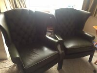 2 Winged leather Arm Chairs (Green)