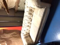 Boho-chic Patchwork Fabric Chesterfield Sofa - excellent condition - light colours - three seater