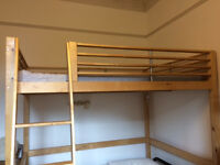 Loft bed: 154 x 210 cm, from Ikea. Finished wood, lovely quality.