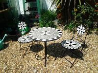 BISTRO STYLE TILED TOP GARDEN TABLE AND CHAIRS