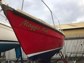 Galion 22 Sale price £2895/€3400 was designed by Ian Haney built by Deacon's Boatyard in 1972.