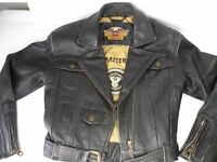 Rare Harley Davidson Metal Masterpieces Leather Motorcycle Jacket Women's XS