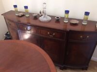 fantastic rosewood dining table, 6 chairs & cabinet