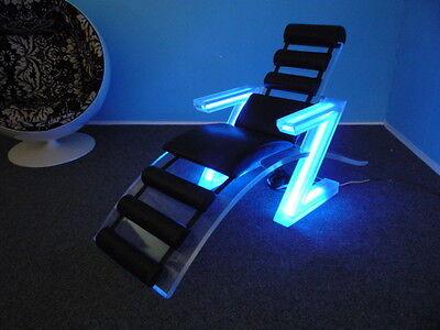 Exotischer Space PLEXI Sessel mit Beleuchtung & Lederauflage ITALIEN 60er Jahre
