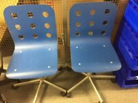 2 x Rigid Spinning Office Chairs Blue